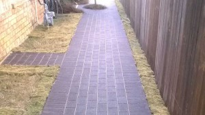Permeable Eco-Priora Pavers Solve Homeowner's Soggy Side Yard